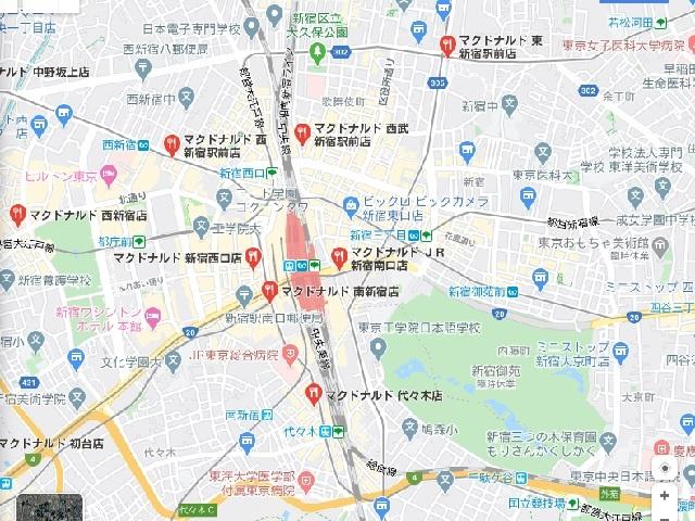 新宿周辺マクドナルド